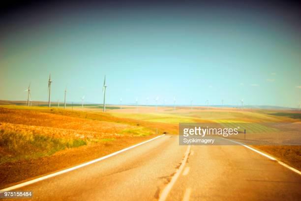 Golden colored road in rural landscape