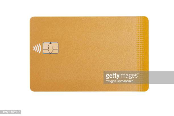 golden credit card with chip, isolated on white background - nfc stock pictures, royalty-free photos & images