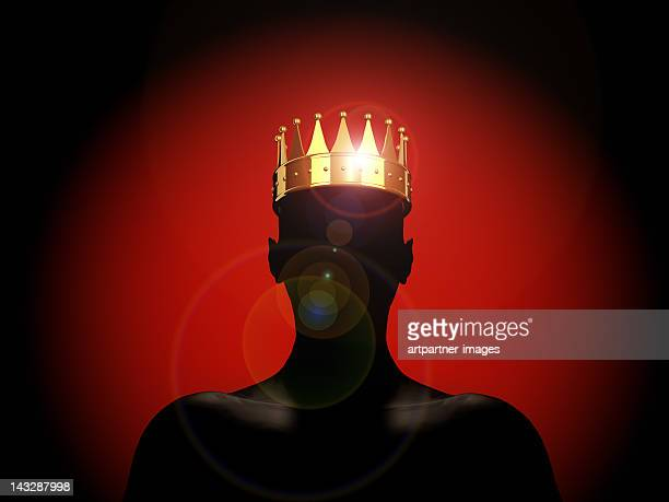 golden crown on a male silhouette - the king - king royal person stock pictures, royalty-free photos & images