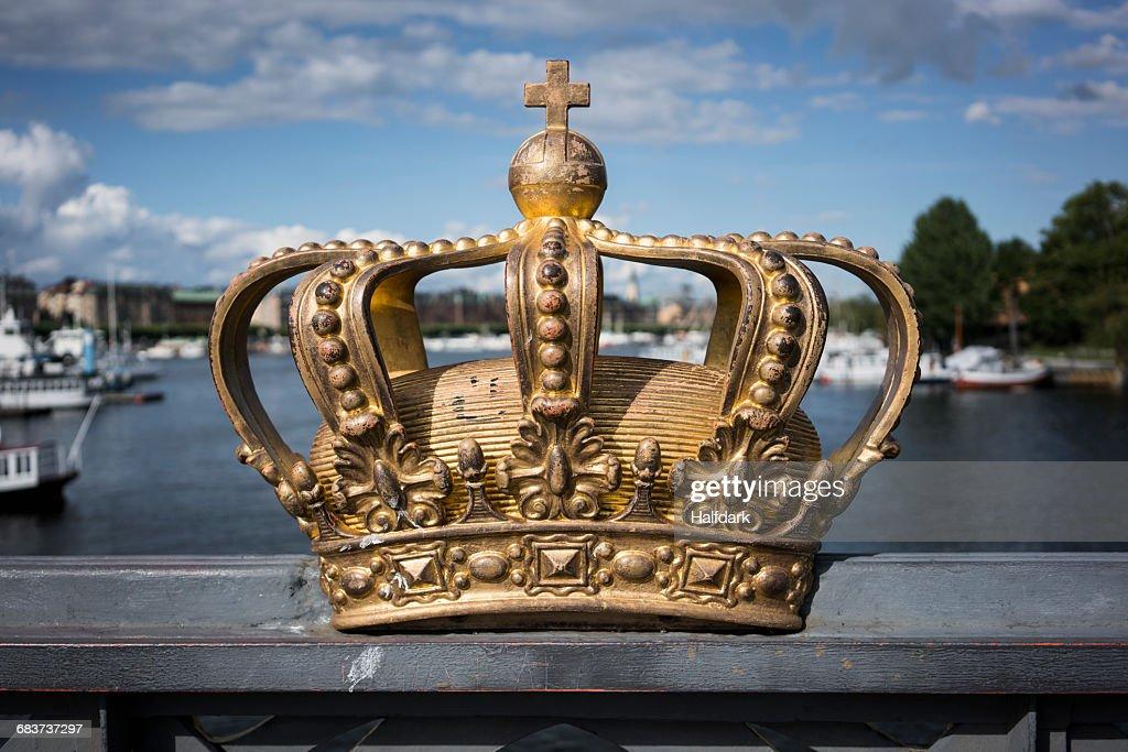 Golden crown on Skeppsholm Bridge, Stockholm, Sweden : Stock Photo