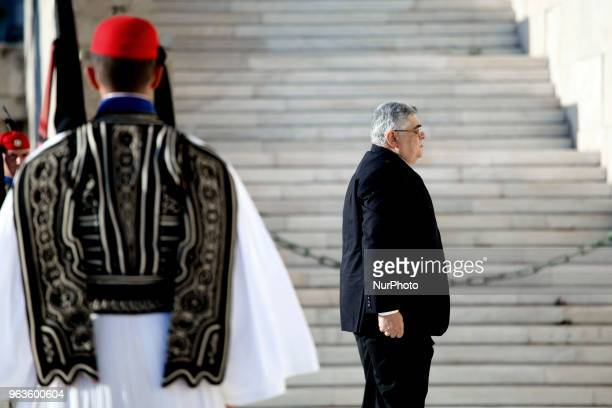 Golden Dawn leader Nikos Mihaloliakos during a rally held by Golden Dawn members and supporters in Syntagma square in Athens Greece on May 29 2018 to...