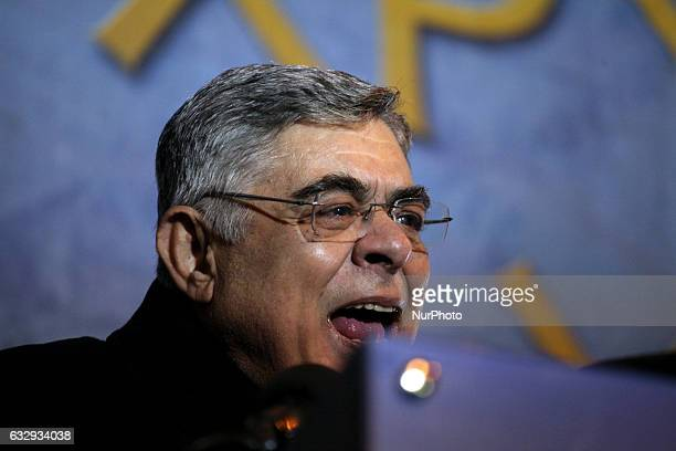 Golden Dawn leader Nikos Mihaloliakos during Golden Dawn rally in Athens Greece January 28 2017 Supporters of the Greek ultra nationalist party...