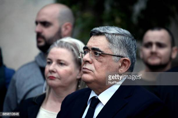 Golden Dawn leader Nikos Mihaloliakos. Golden Dawn members and supporters held a rally in Athens, Greece on May 29, 2017 to commemorate the conquest...