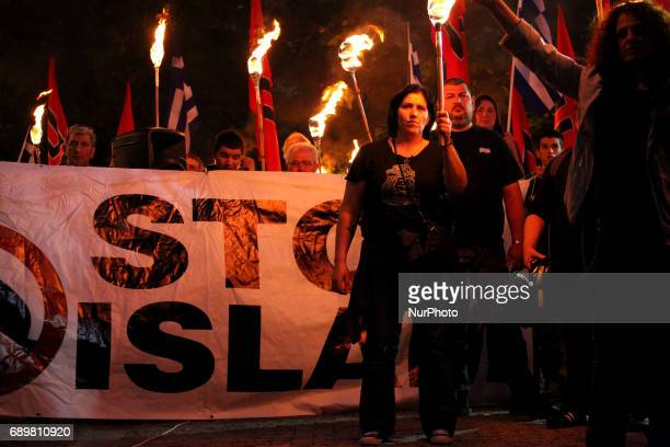 Golden Dawn members and supporters held a rally in Athens, Greece on May 29, 2017 to commemorate the conquest of Istanbul from the Ottoman Turks, on...