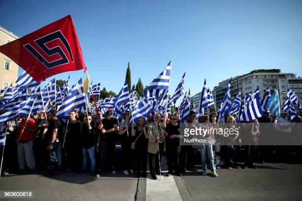 Golden Dawn members and supporters held a rally in Syntagma square in Athens Greece on May 29 2018 to commemorate the conquest of Istanbul from the...