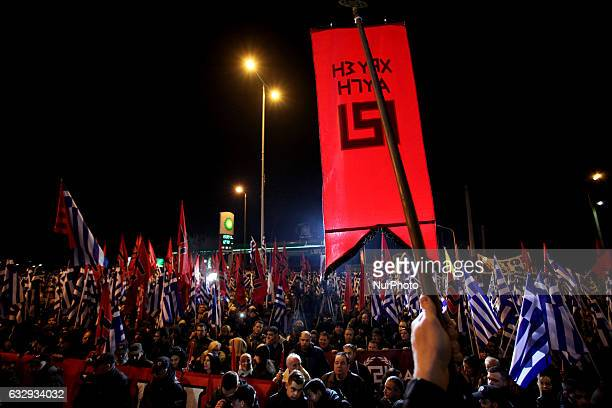 Golden Dawn rally in Athens Greece January 28 2017 Supporters of the Greek ultra nationalist party Golden Dawn gathered to commemorate the death of...