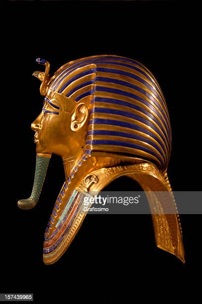 golden death mask of egypt pharaoh tutankhamun - egyptian god stock pictures, royalty-free photos & images