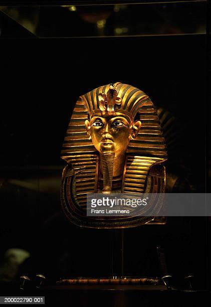 golden death mask of tutankhamun - tutankamon fotografías e imágenes de stock