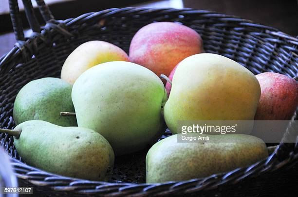 Golden delicious, cameo apples and forelle pears