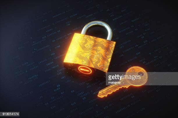 Golden digital padlock and key on encrypted data