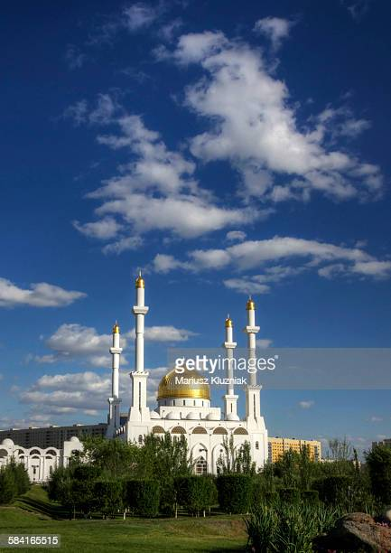 Golden Dome Nur-Astana Mosque on sunny summer day