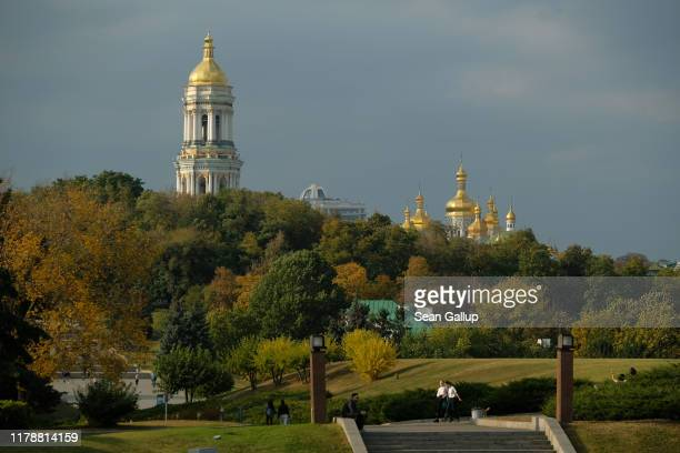 Golden domes of the Kiev Pechersk Lavra Orthodox Christian monastery stand on October 03, 2019 in Kiev, Ukraine. The monastery dates to the 11th...