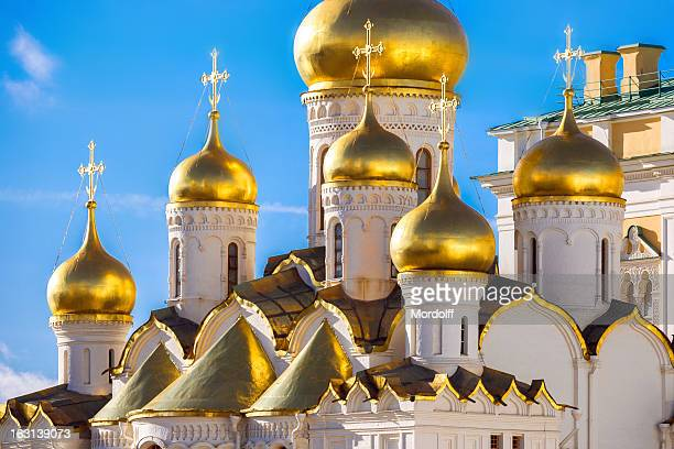 golden domes of the russian church - cathedral stock pictures, royalty-free photos & images