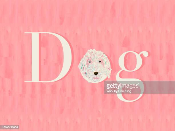 Golden Doodle in Pink, Dog Typography