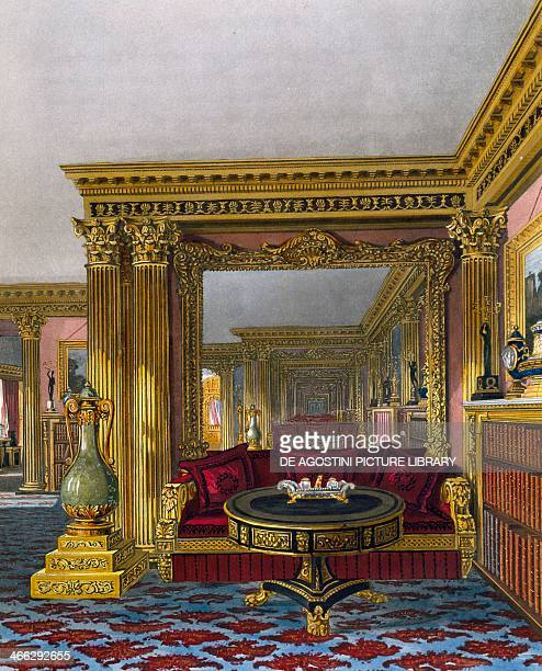 Golden drawing room engraving by William James Bennett based on a design by Charles Wild from The History of the Royal Residences 18161819 Volume III...