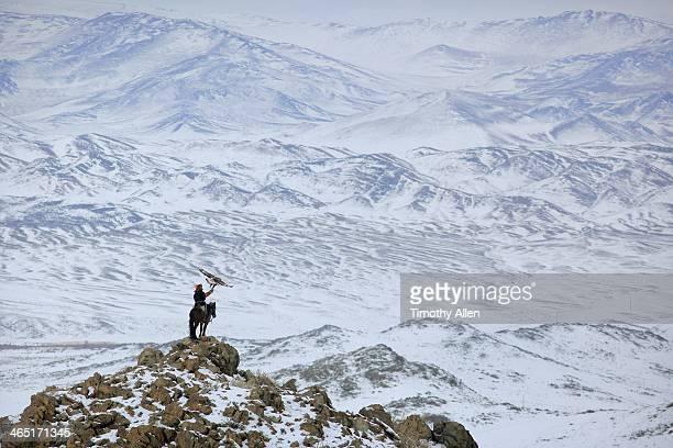 golden eagle hunter in epic snow landscape - モンゴル ストックフォトと画像