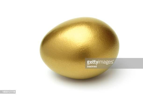 Golden Eggon on White Background