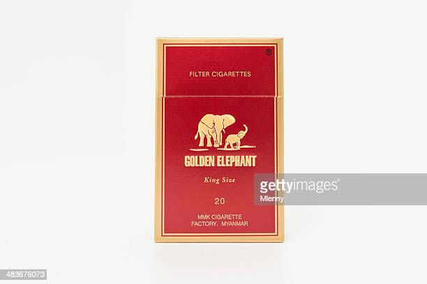 golden elephant cigarette pack, myanmar asia - cigarette pack stock pictures, royalty-free photos & images
