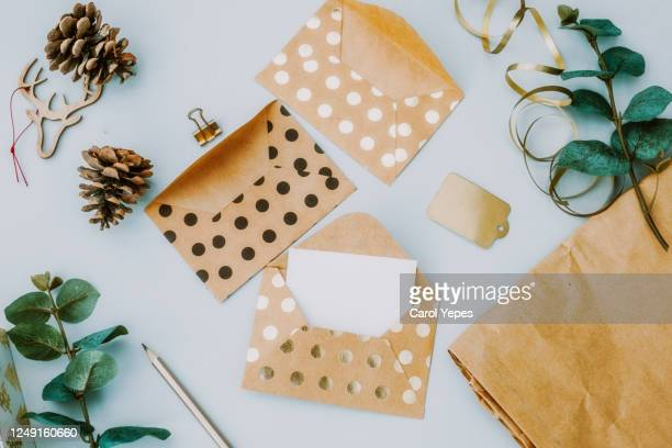 golden envelopes background.top view - greeting card stock pictures, royalty-free photos & images