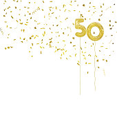 Golden foil balloon numbers, with gold confetti. White background.