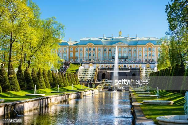 gouden fonteinen van het paleis van peter, sint-petersburg, rusland - groot paleis peterhof stockfoto's en -beelden