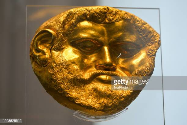 Golden funeral mask, a part of the finds from Svetitsa Tumulus, Krun near shipka, Stara Zagora region, end of the 5th century BC, seen inside the...
