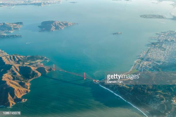 golden gate bridge aerial - san francisco bay area stock pictures, royalty-free photos & images