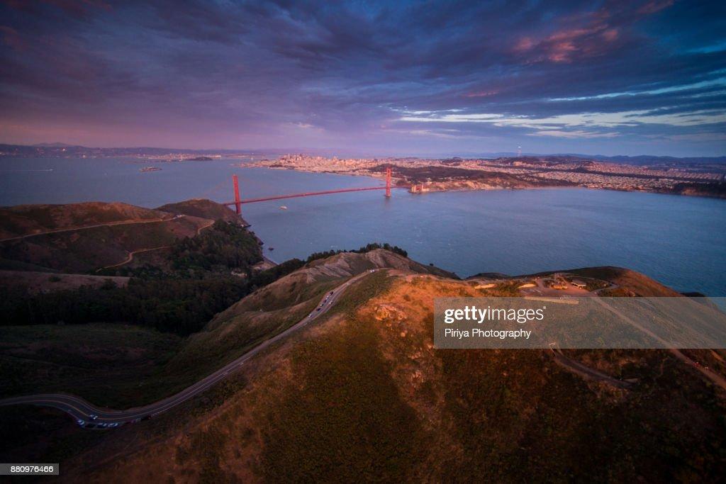 Golden Gate Bridge Aerial view : Stock Photo