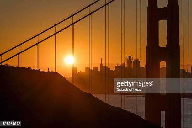 Golden Gate Bridge and San Francisco Downtown at Sunrise