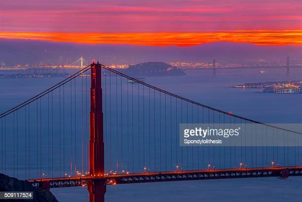 Golden Gate Bridge and San Francisco Skyline at Sunrise