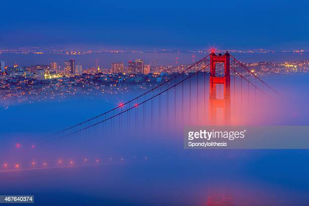 Golden Gate Bridge and San Francisco Skyline with Low Fog