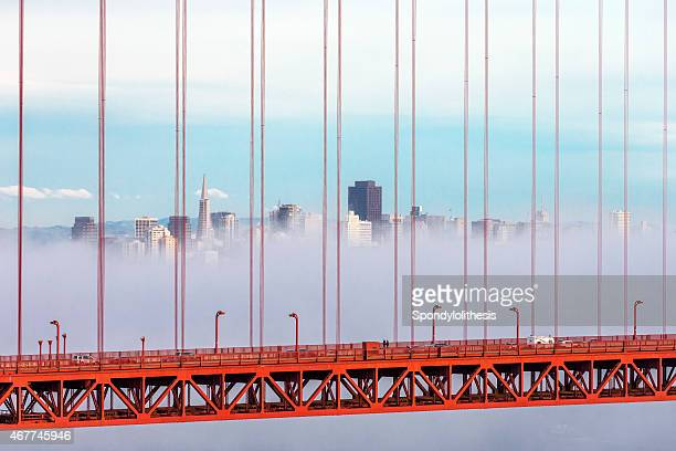 Golden Gate Bridge and San Francisco Skyline with Low Fog