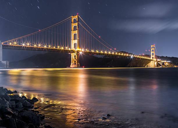 Golden Gate Bridge And Skyline Of San Francisco At Night Wall Art