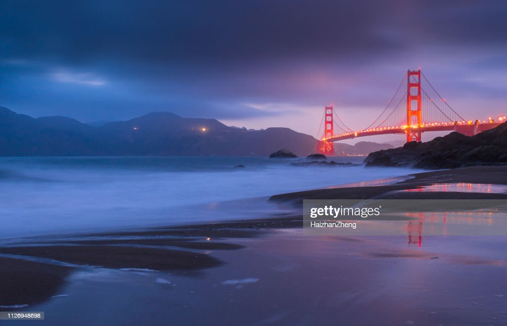Golden Gate Bridge at sunset, San Francisco, California, USA : Stock Photo