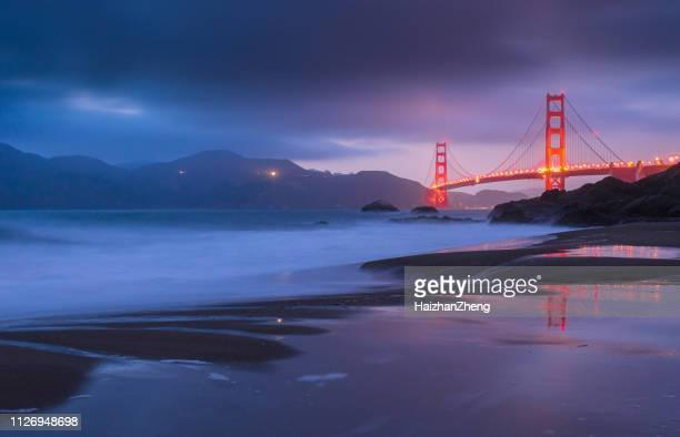 golden gate bridge at sunset, san francisco, california, usa - golden gate bridge stock pictures, royalty-free photos & images