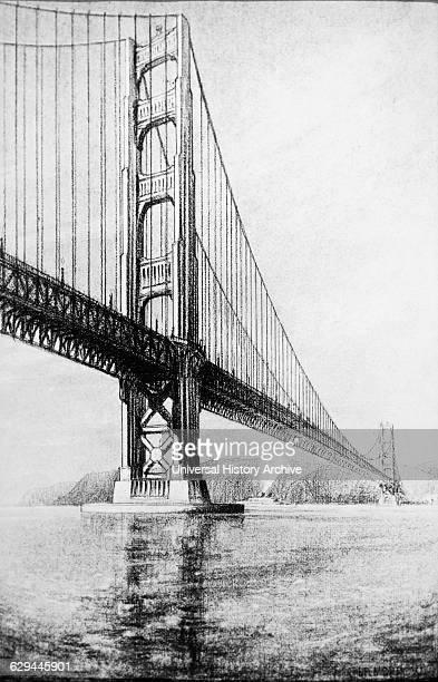 Golden Gate Bridge before Completion San Francisco California USA Artist Drawing 1937