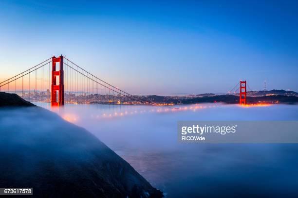 Golden Gate Bridge in fog, San Francisco, USA