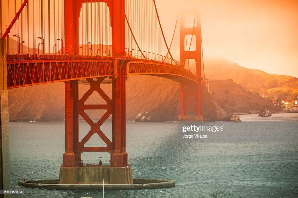 Golden Gate Bridge in San Francisco on a foggy day : Stock Photo