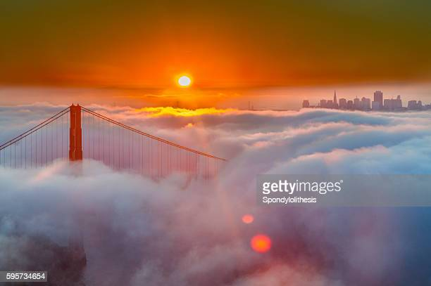 Golden Gate Bridge Low Fog at sunrise