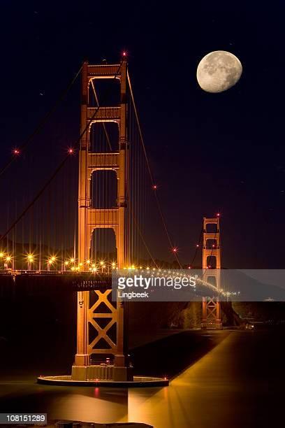 golden gate bridge, san francisco al chiaro di luna - baia foto e immagini stock