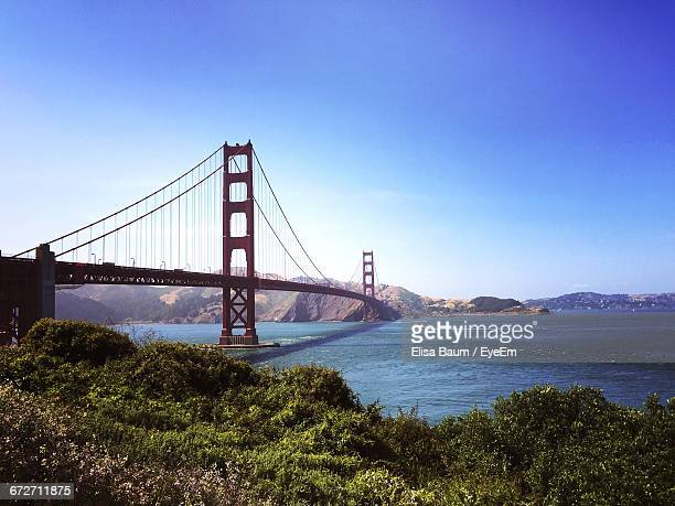 golden gate bridge over sea against clear sky - baum stock pictures, royalty-free photos & images