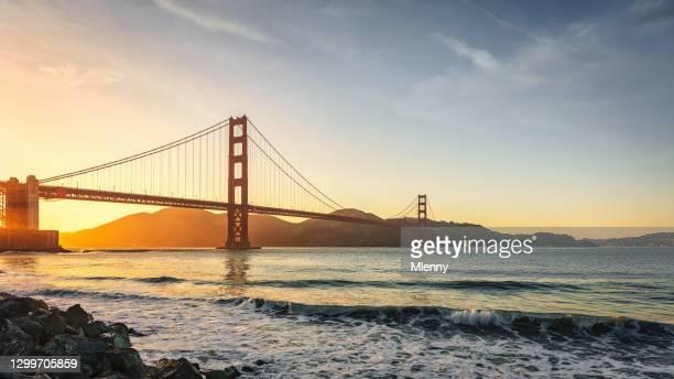 golden gate bridge san francisco sunset panorama california usa - mlenny stock pictures, royalty-free photos & images