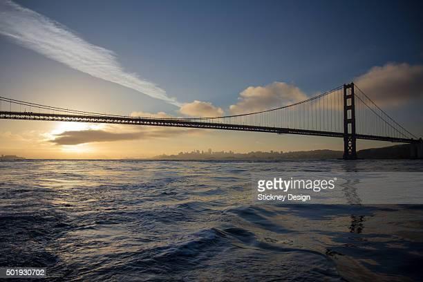 Golden Gate Bridge Sunrise From A Boat On San Francisco Bay