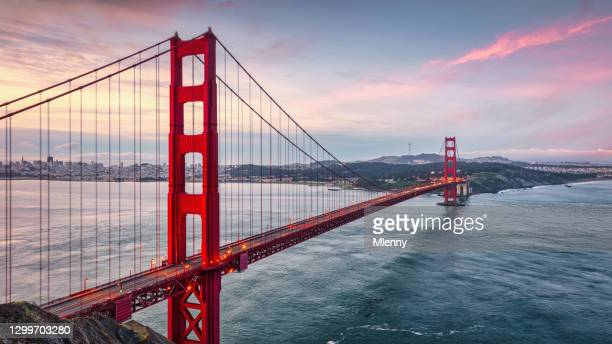 golden gate bridge sunrise panorama san francisco california usa - mlenny stock pictures, royalty-free photos & images