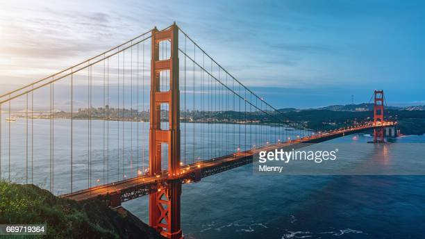 golden gate bridge sunrise panorama san francisco california usa - san francisco california stock photos and pictures