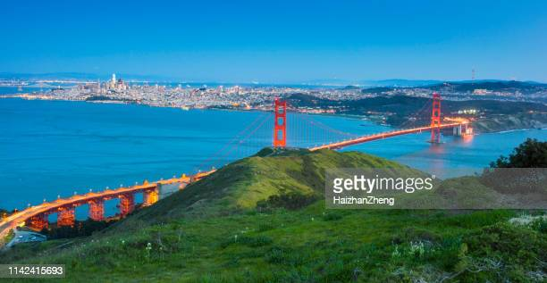 golden gate bridge sunset - san francisco bay area stock pictures, royalty-free photos & images