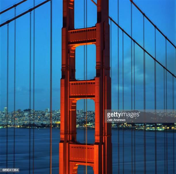 Golden Gate Bridge tower and San Francisco skyline