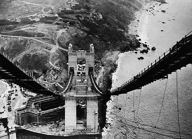golden gate bridge under construction at san francisco in california usa on october 23rd 1935