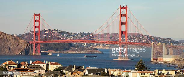 Golden Gate Bridge wide panorama across San Francisco Bay