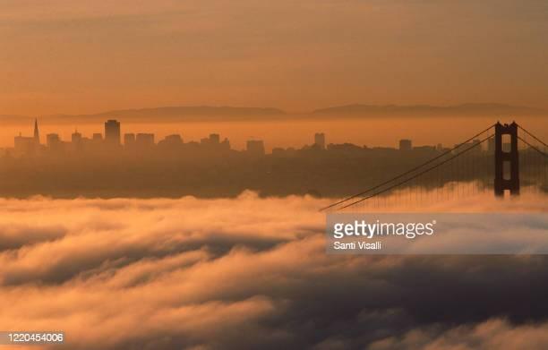 Golden Gate Bridge with fog on October 10, 1989 in San Francisco, California.